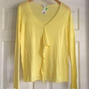 Kinross Cotton Cascade Ruffle V-Neck Sweater XL